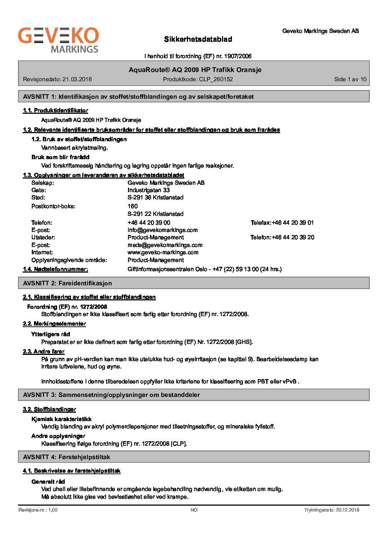 AquaRoute® AQ 2009 HP Trafikk Oransje_N-no