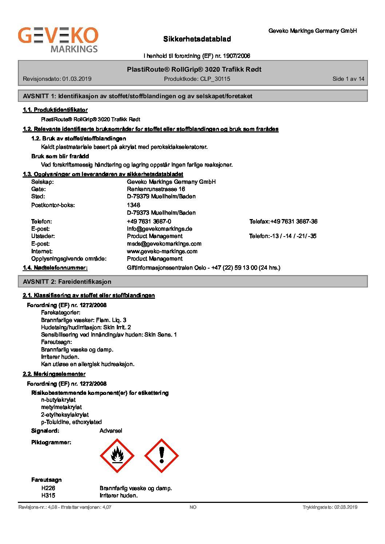 PlastiRoute® RollGrip® 3020 Trafikk Rødt_N-no