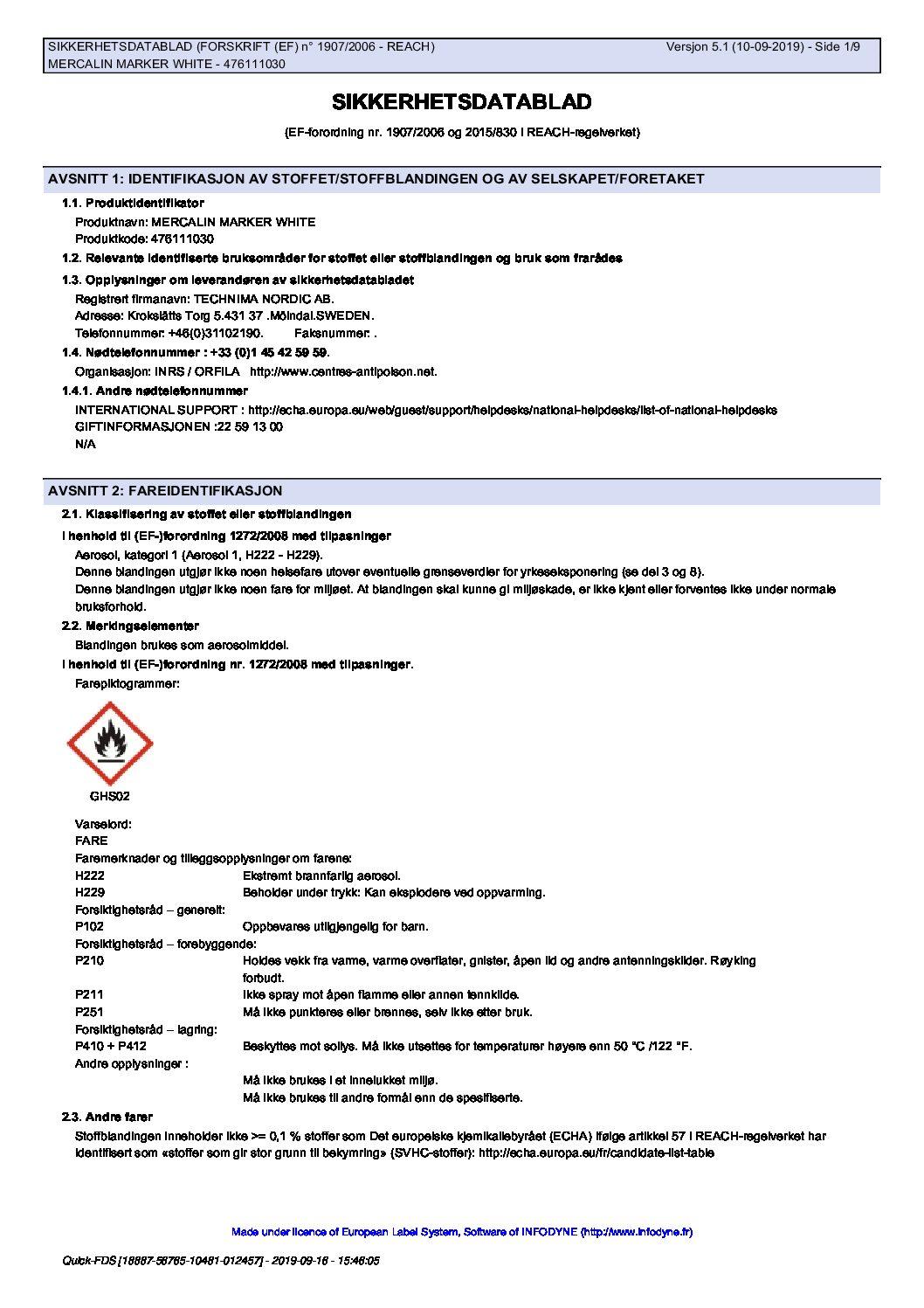 Sikkerhetsdatablad Mercalin Marker hvit