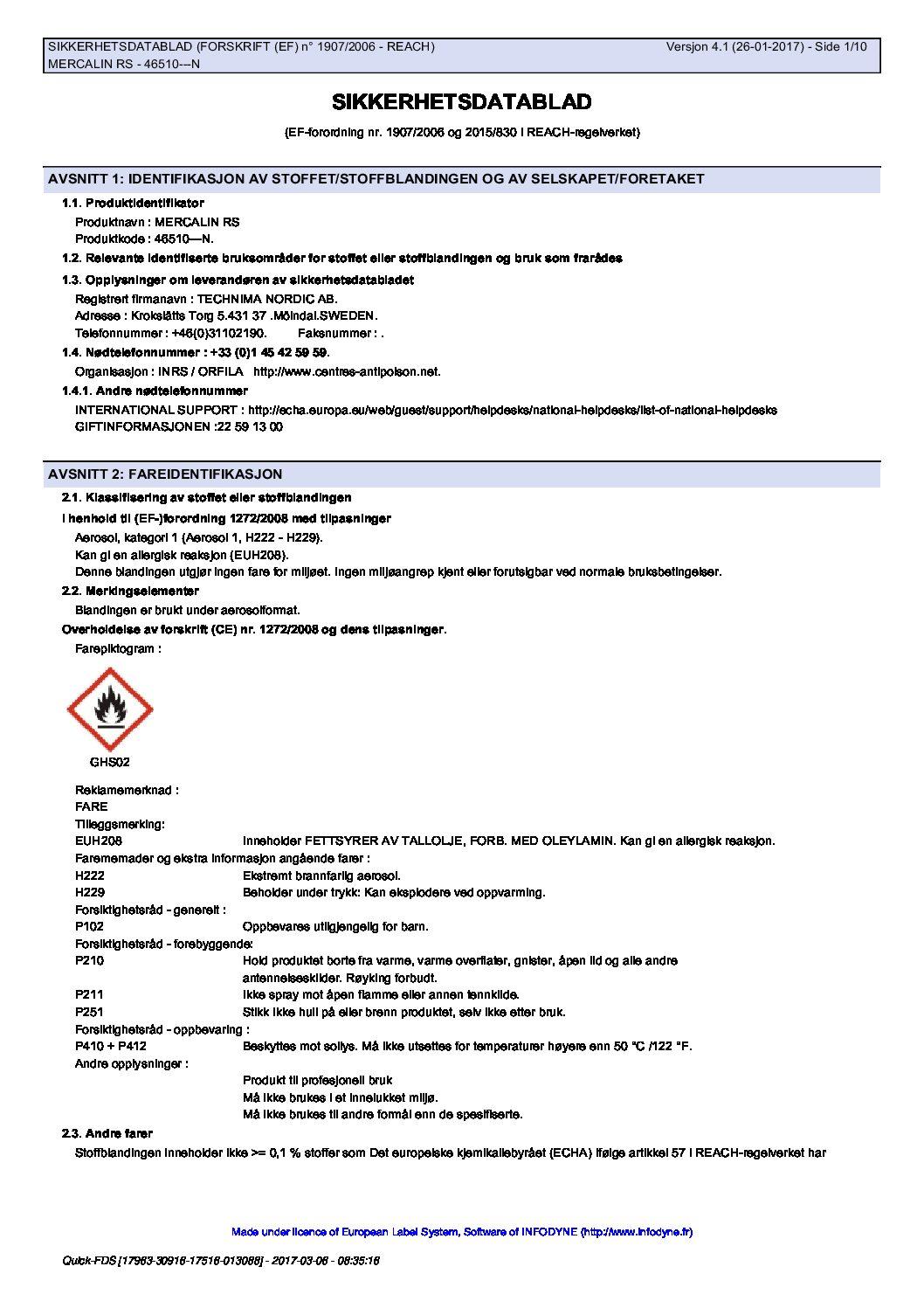Sikkerhetsdatablad Mercalin RS