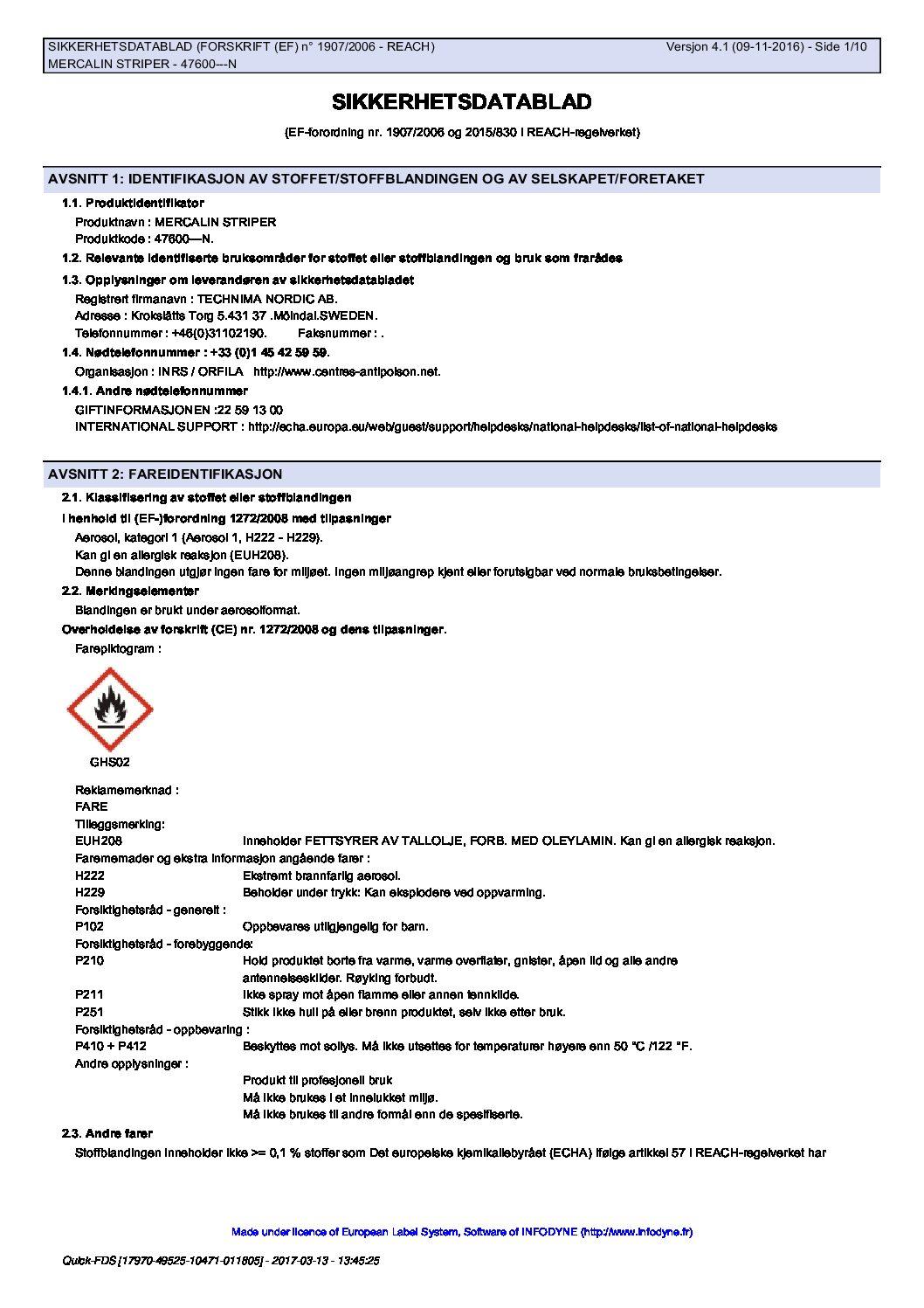 Sikkerhetsdatablad Mercalin Striper