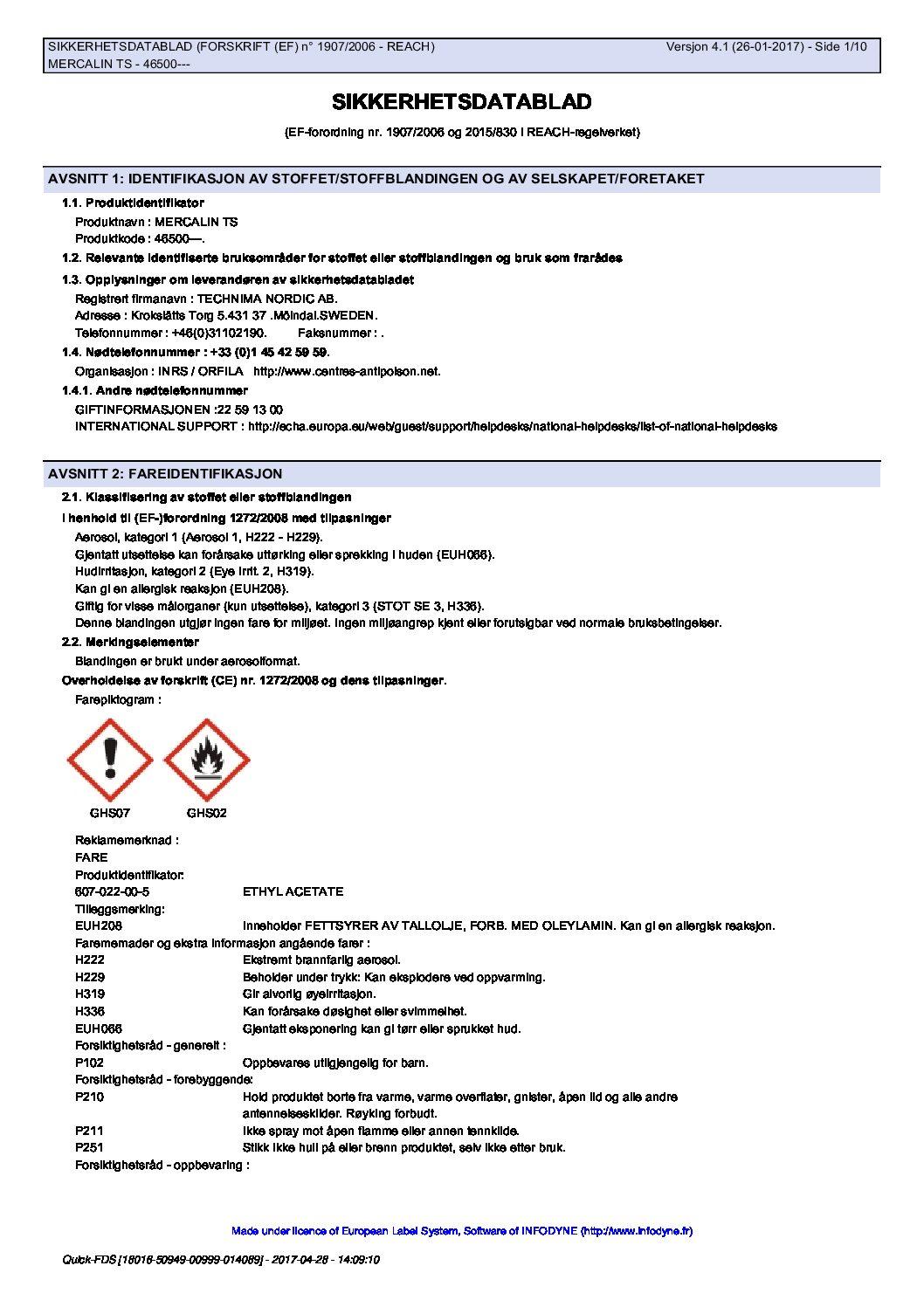 Sikkerhetsdatablad Mercalin TS