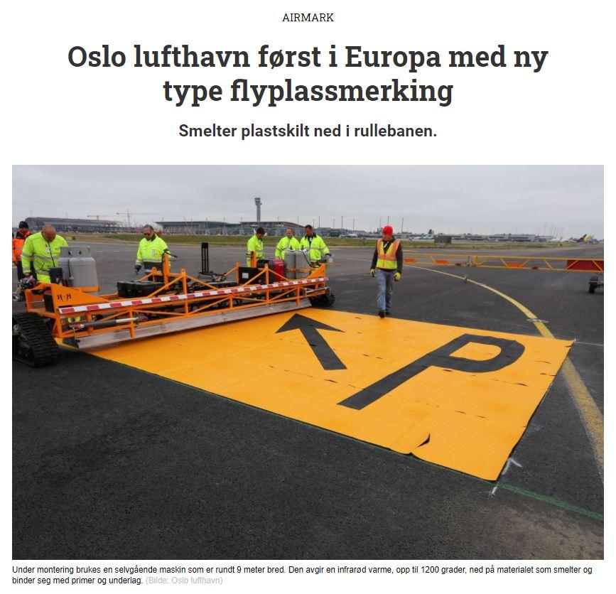 Oslo lufthavn først i Europa med ny type flyplassmerking